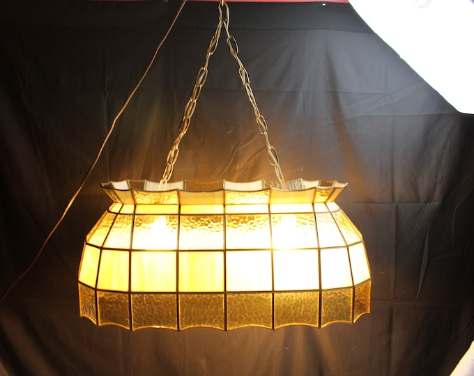 Vintage Tiffany Style Leaded Stained Glass Hanging Pool Table Light Amber and Cream
