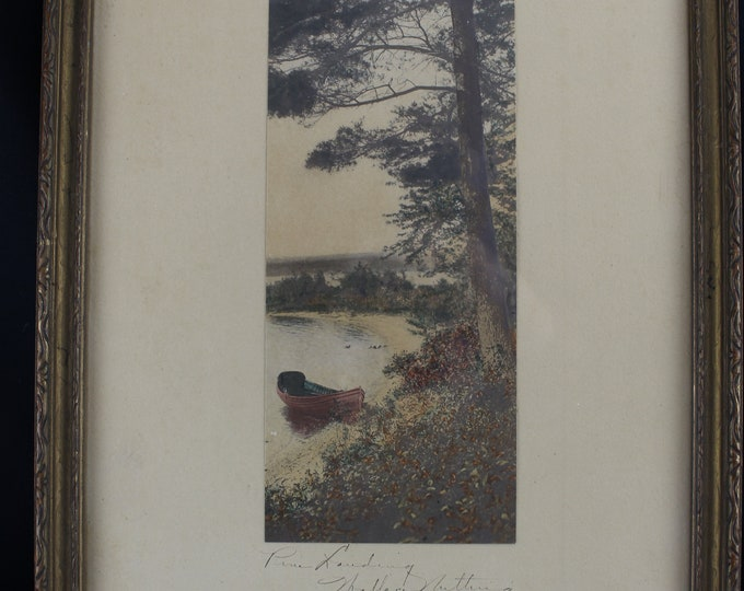 Circa 1915-25 Wallace Nutting Hand Colored Photo - Pine Landing Hand Signed