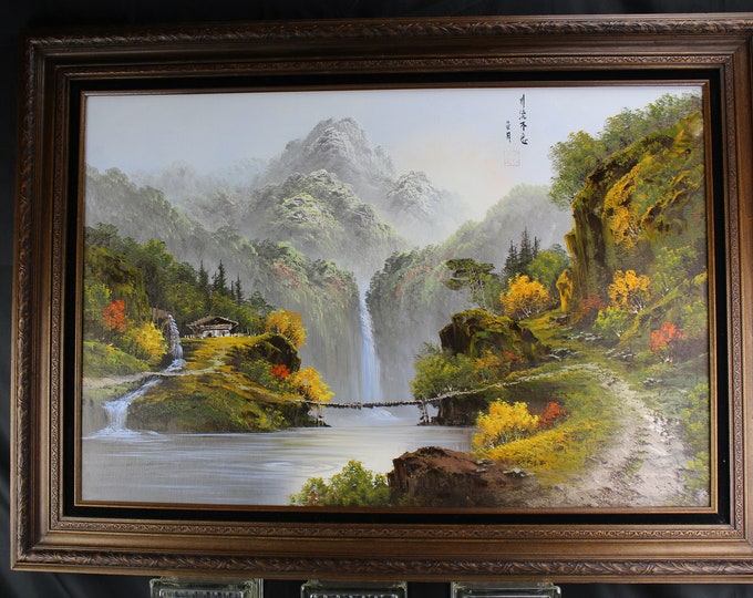 Large Vintage Chinese Oil Painting Landscape Signed and Stamped Wood Frame