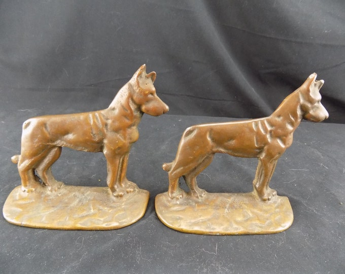 Antique Two Bronze German Shepherds Dogs Bookends