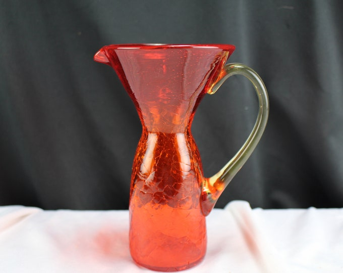 Crackle Glass Pitcher-Orange Art Glass Crackle Glass Pitcher with Yellow Applied Handle