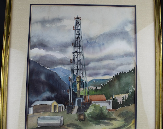 Original Watercolor Painting Drilling Rig in Mountains Medium Peggy Wing