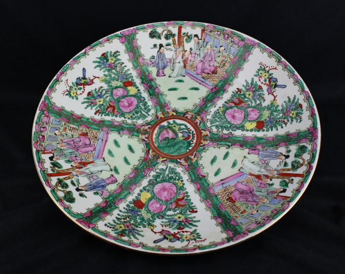 Vintage-Chinese Porcelain-Canton Familee Rose Medallion-Charger Bowl