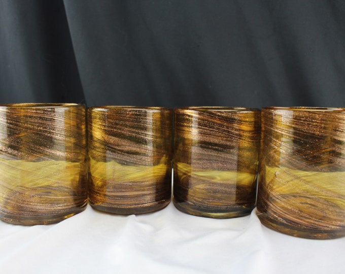 Set of 4 Blown Glass Amber and Aventurine Rocks/Juice Glasses Barware