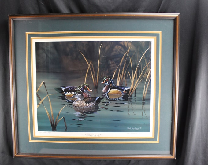 "Vintage Wildlife Print ""Wood Duck Trio"" Mark Anderson A/P 17/30 Signed Framed"