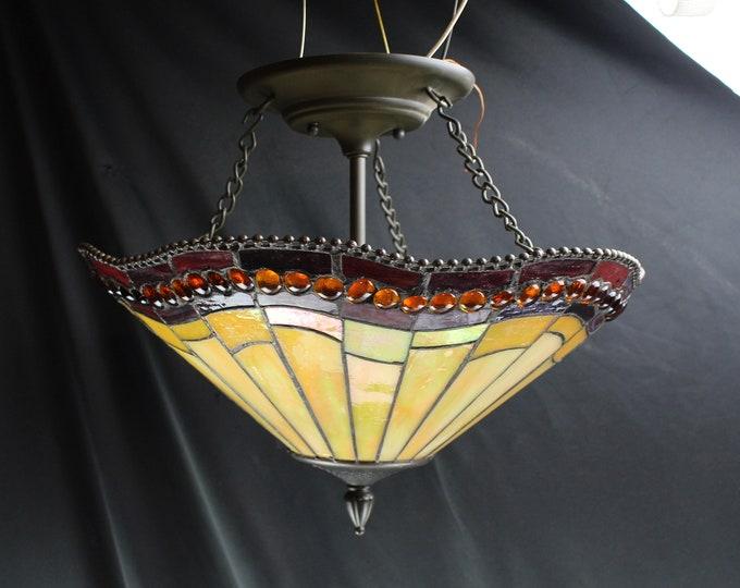 Vintage Quoizel Inc. Tiffany Flush Mount Ceiling Light Fixture Stained Glass Model  LWSO196E  Light Home Decor