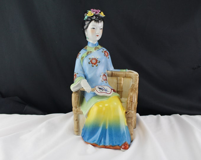 Vintage Porcelain Figurine Chinese Woman Seated in Chair Blue and Yellow Asian Decor