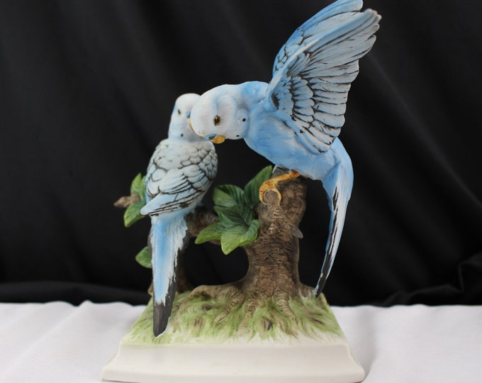 Porcelain Figurine Parakeet Pair Blue Budgies Hand Painted Japan