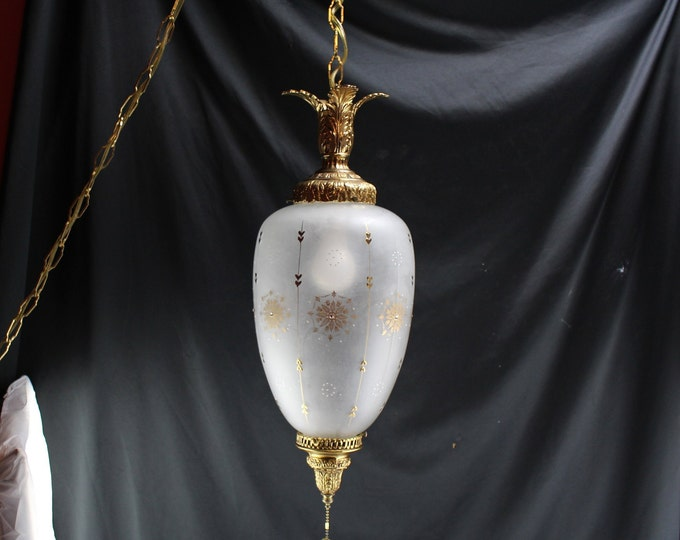 Vintage Swag Light/Lamp Brass and Frosted Glass Gold Snowflakes Mid Century Lighting