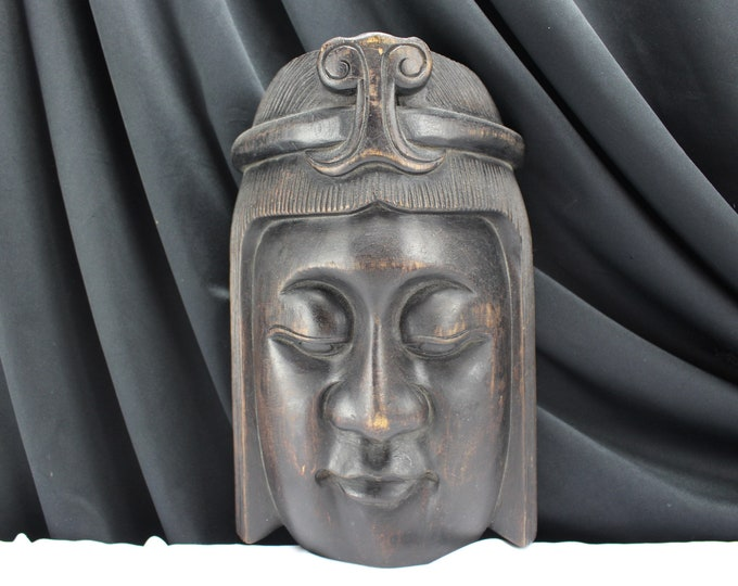 Vintage Large Carved Wood Buddha Face Wall Hanging Asian Decor