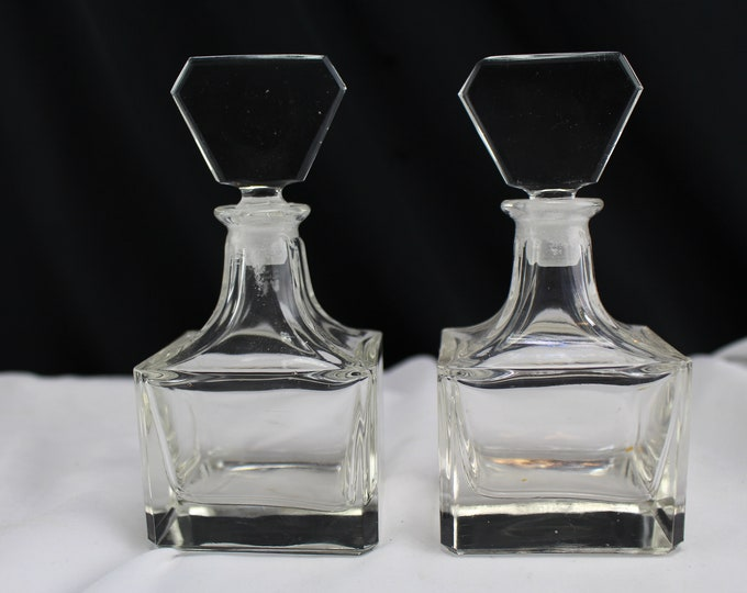 Pair of Matching Crystal Glass Perfume Bottles Dressing Table Decor