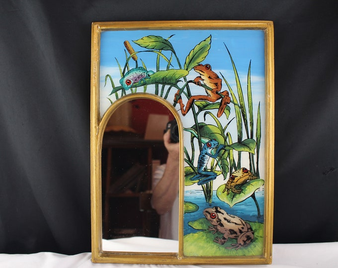 Vintage Mid Century Reverse Painted Glass Exotic Tropical Frogs With Arched Mirror
