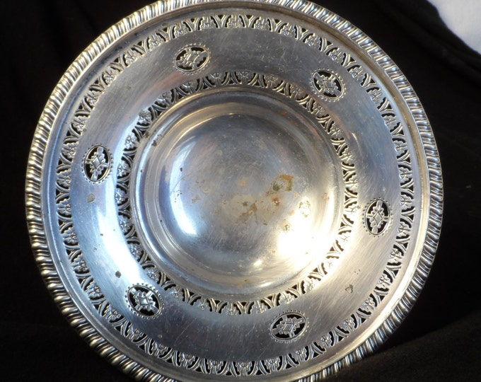 English Silver Plate Candy Dish-Made By Captial marked England-Antique Pierced Silver Candy Dish
