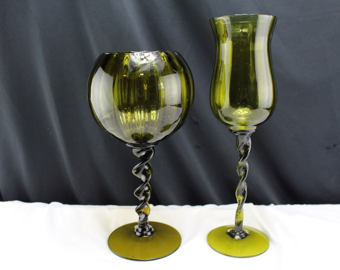 Mid Century Pair Dark Green Empoli Optic Brandy Snifters Twisted Stems-Handmade Glass From Italy-