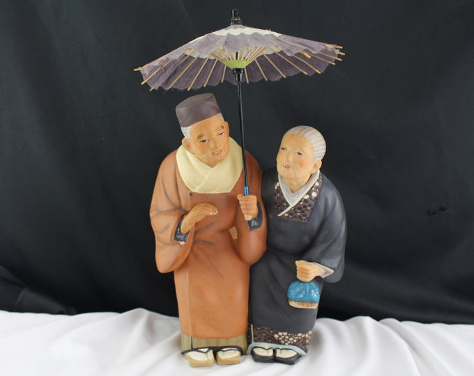 Vintage Urasaki Dolls Japan Ceramic Figurine Old Couple Walking Asian Decor