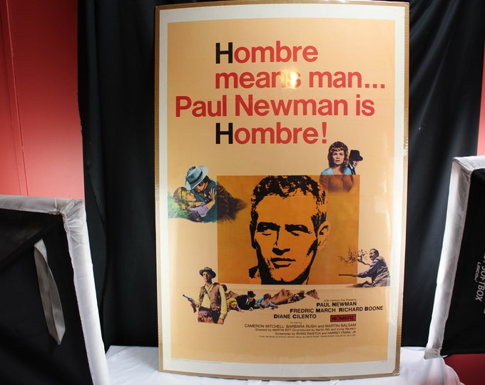 """Hombre 1967 Authentic 27"""" x 41"""" Original Movie Poster Paul Newman Western U.S. One Sheet Very good condition"""