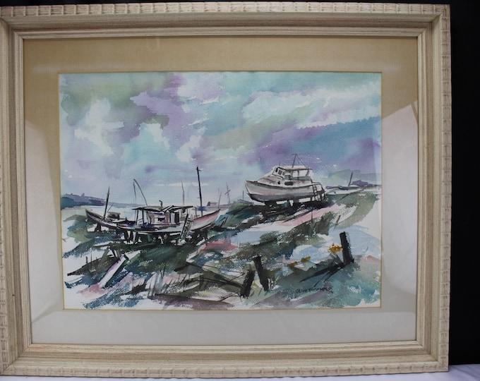 Original Fine Art Watercolor Painting Seascape Boats on the Shore Olive Troemper 1950's Illinois
