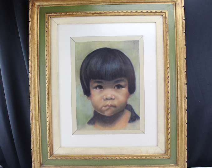 Vintage Pastel on Velour Painting/Drawing Portrait Ethnic Young Asian Child 1965