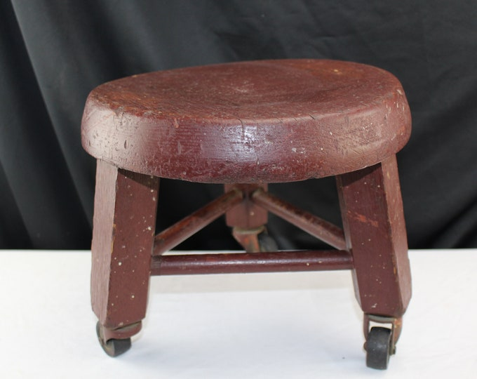 Antique Farmhouse Painted Oxblood Red Wood Foot Stool on Casters Rustic primitive