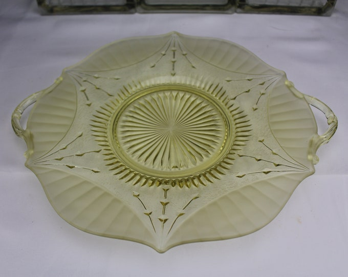 1930's Depression Glass Lancaster Cake Plate Yellow Dart Pattern 2 Handles