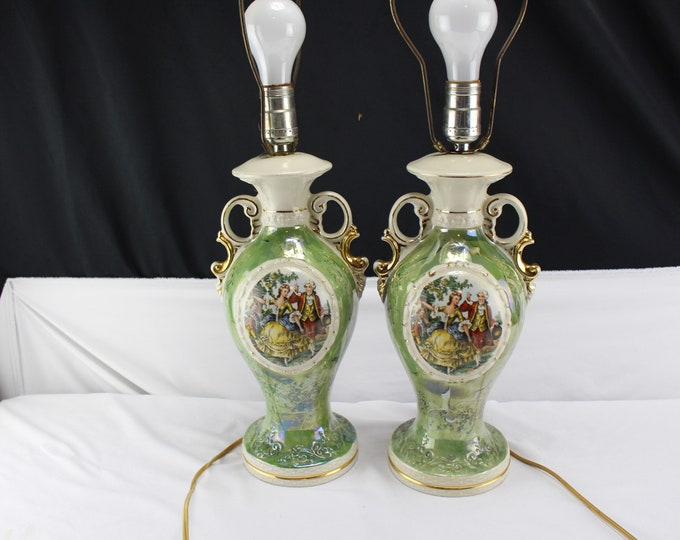 Pair Vtg Victorian Urn Style Green White Hand Painted Gilt Ornate Ceramic Porcelain Courting Couple Boudoir Parlor Table Electric Lamps