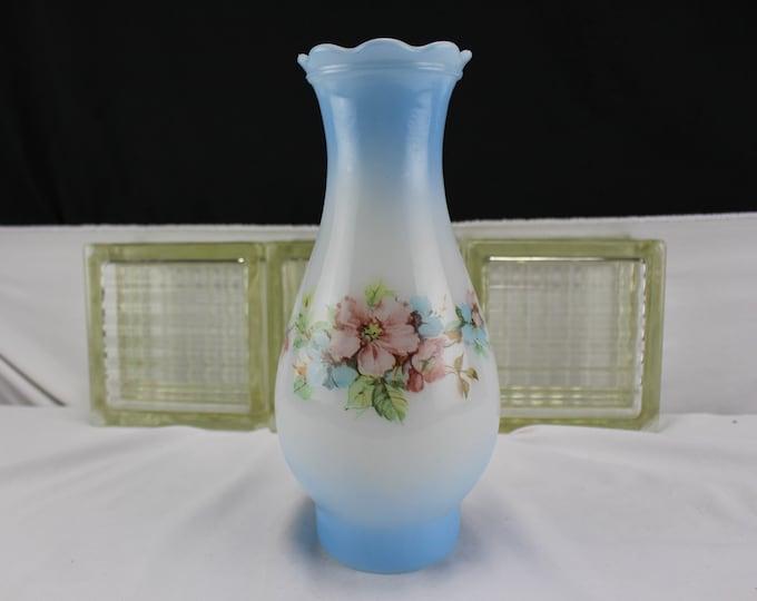 "Vintage Lamp/Light Shade Chimney 3"" fitter Milk Glass Painted Wild Rose Blue"