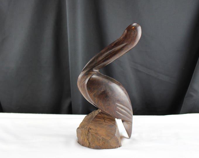 Carved Ironwood Pelican Figurine, Wood Pelican Sculpture, Beach house Decor