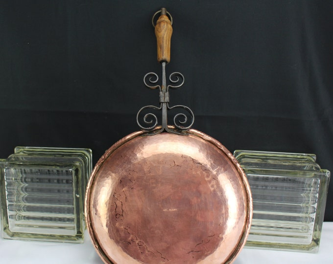 """Vintage Swiss Hammered Copper and Wrought Iron and Wood Cookware-9"""" Frying Pan"""