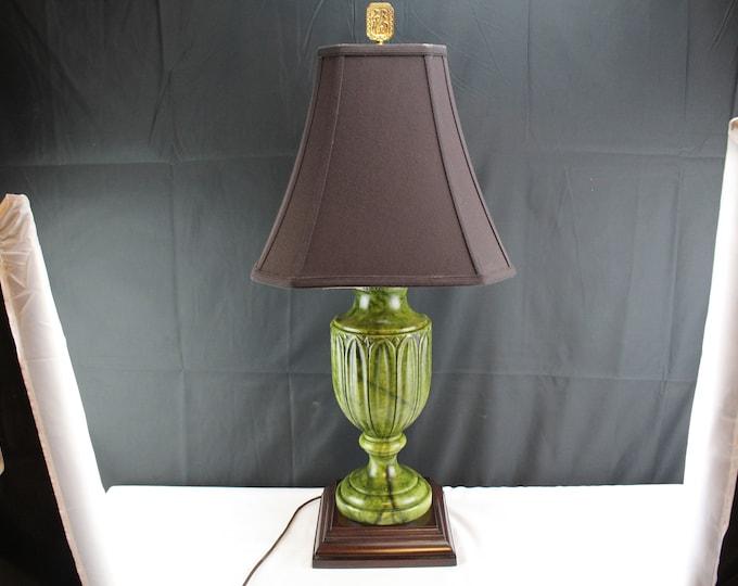 Vintage Green Marble Table Lamp Acanthus Leaves-Kaiser Kuhn Lighting-Home Lighting and Decor