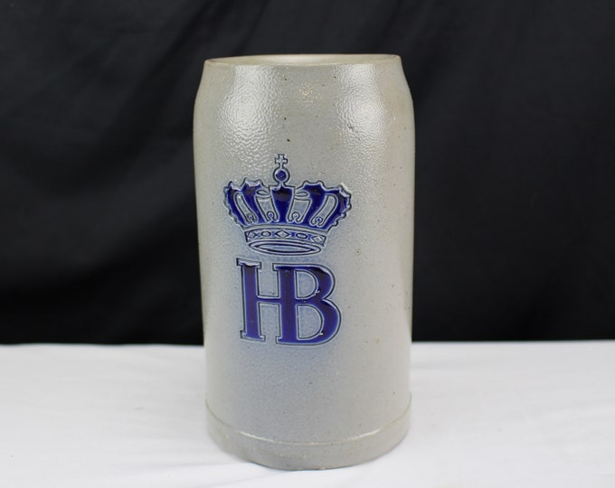 Hofbräuhaus German Salt Glazed Beer Stein, Cobalt Blue HB Crown Design, Hofbräuhaus Tavern Munich Germany Bavarian Gift, Made in Germany