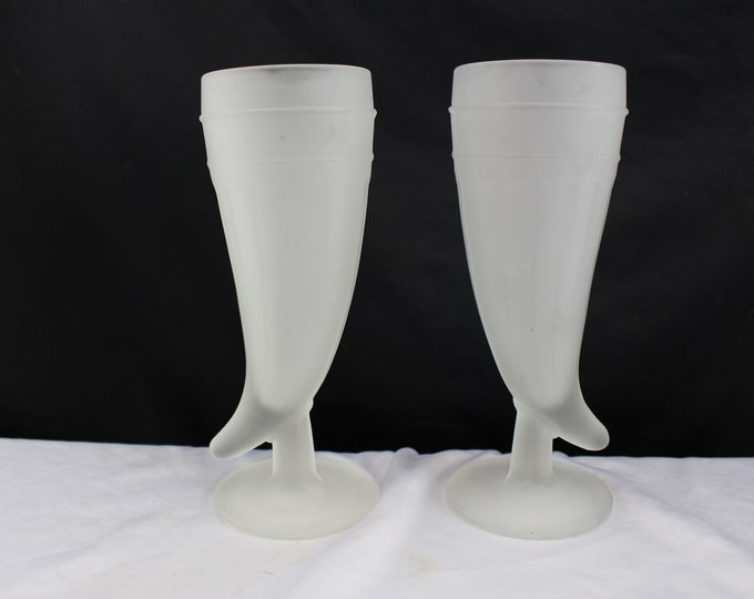 Glass-Tumbler-Frosted Viking Horn Glass-Vintage Tiara Glass Powder Horns-11 Available