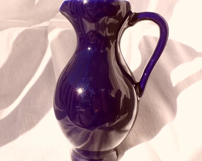 Purple Pitcher-Indigo Purple-Amethyst Purple Pitcher -Vintage Thailand Hand Made Pottery Pitcher
