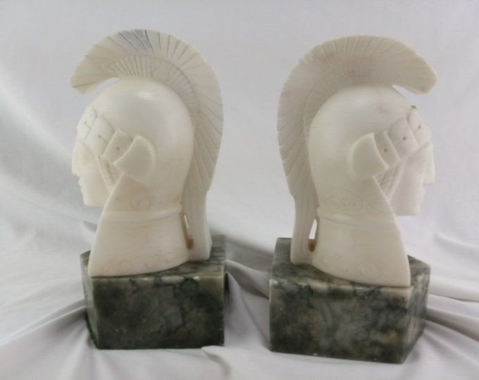 Hand Carved Soapstone Bookends Roman Gladiators Bust Books Office/Library/Home  Decor