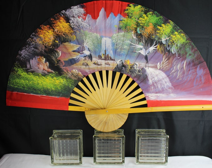 Large Vintage Asian Hand Painted Bamboo and Silk Fan Stunning Landscape with Cranes