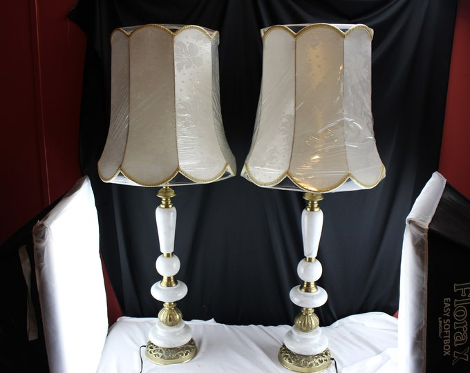 Pair Antique Tall 1930 Electric Table Lamp's Art Deco Style Marble Brass Silk Shades-Home Decor Lighting