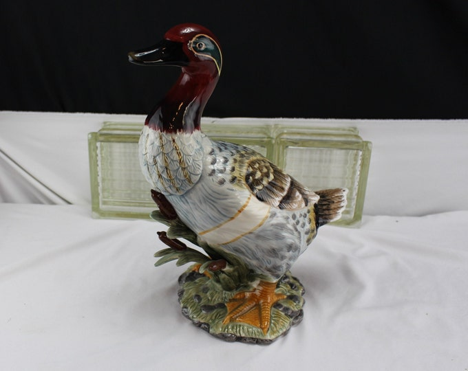 Large Ceramic Redhead Duck Drake Statue/Figurine Wildlife Birds Collectible