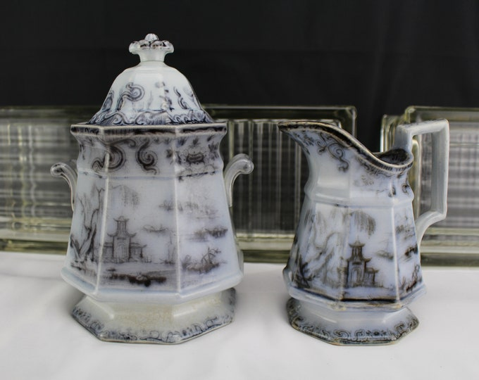 Antique 1849 Mulberry Sugar and Creamer Beauties of China Ironstone China Mellor Venables Gothic Panel