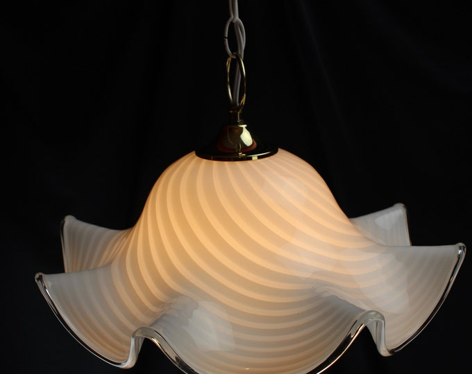 Murano Fazzoletto Art Glass White Latticeino Swag Light/Lamp Ruffled Edge