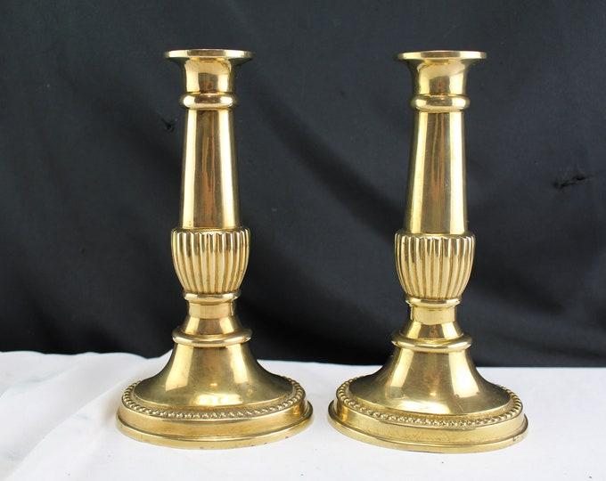 Vintage Solid Brass Candlestick Holders Marked ELP