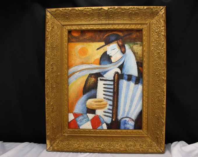 "Vintage ""Picasso Styled"" Man Playing Accordion  Musician Signed P. COFFARO Home Decor"
