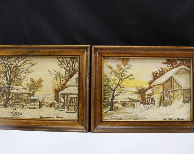 Vintage Mid Century Crewel Needle Craft Images Famous Buildings Mid Century