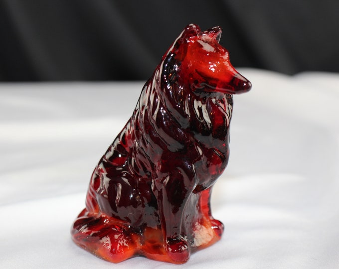 Mosser Slag Glass Collie Figurine Ruby Red Dog Collectible home decor