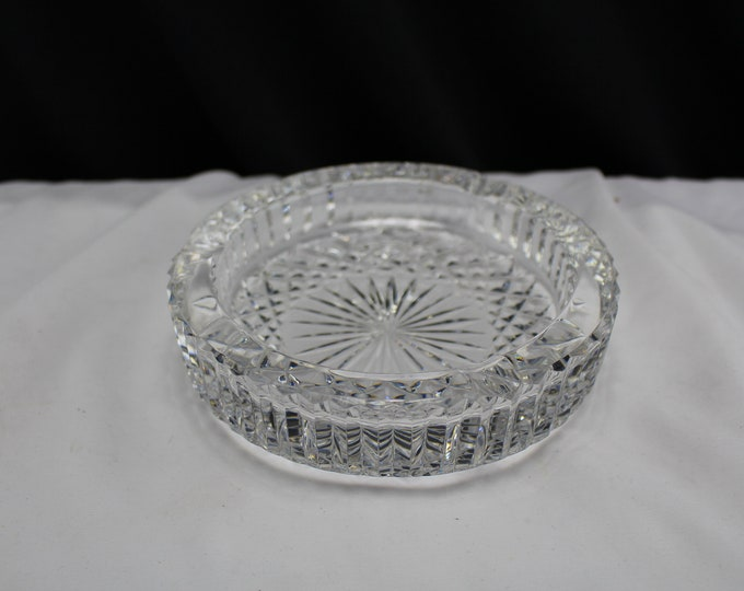 Vintage Waterford Crystal Ashtray Ireland Sparkling Cut Heavy Duty Tobacciana