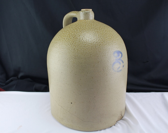Antique Wheel Thrown Stoneware 3 Gal Jug with Handle and Cork Blue under glazed number