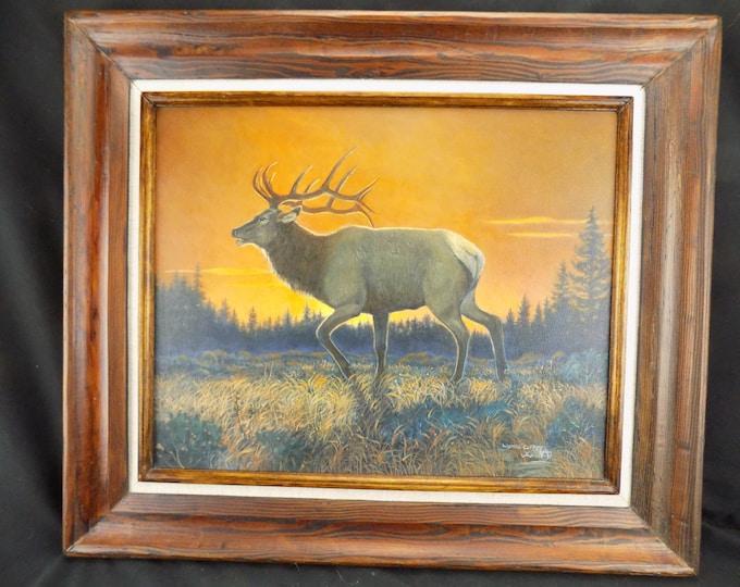 Original Oil Painting, Bull Elk Orange Sunset, Wanda Coffey, Farmington NM
