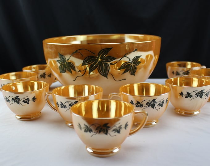 Fire King Peach/Orange Luster Punch Bowl Set, Ivy Leaf Pattern, Punch Bowl and 10 Cups