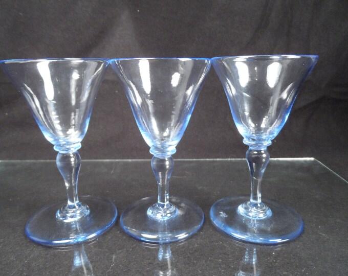 Stemware-Blue Glass Cordials-Hand Blown Blue Glass Cordials-Vintage Barware-Tutt Estate