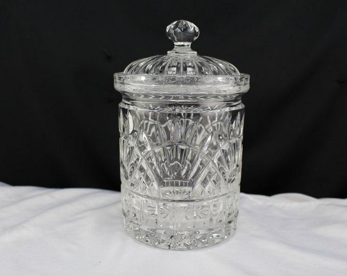 Vintage Crystal Glass Canister, Covered Jar-Kitchen Storage Decor