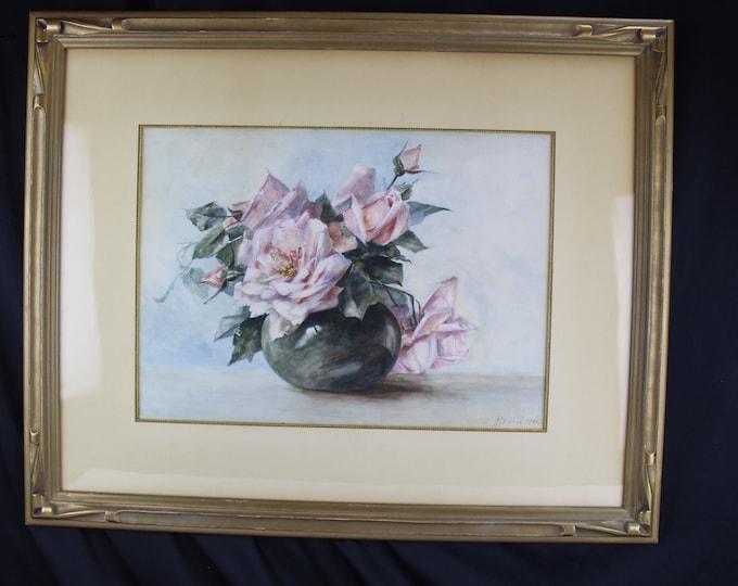 Antique Original Watercolor Mix Floral Pink Roses Still Life Robinson 1902