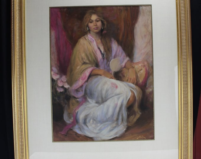 "Original Drawing Pastels, Large, by Dan Beck, Portrait, Beautiful Woman in Kimono ""Alisa"" Signed"